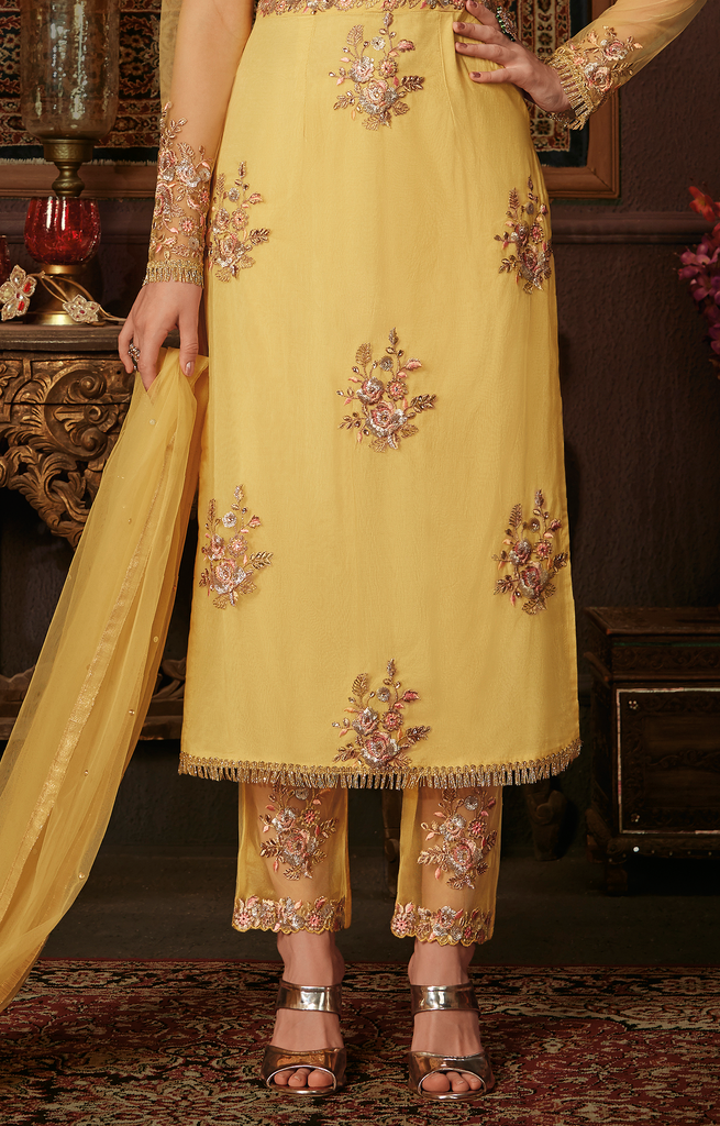 Yellow Designer Embroidered Party Wear Net Pant Suit-Saira's Boutique