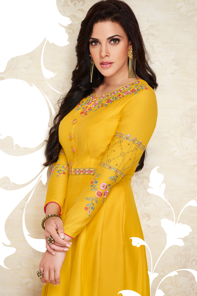 Yellow Designer Embroidered Silk Party Wear Anarkali Gown-Saira's Boutique