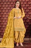 Yellow Designer Embroidered Silk Wedding Patiala Suit-Saira's Boutique