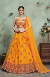 Yellow Designer Heavy Embroidered Net Wedding Lehenga Choli-Saira's Boutique