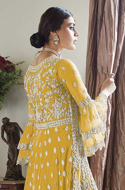 Yellow Designer Heavy Embroidered Net Wedding Sharara Suit-Saira's Boutique