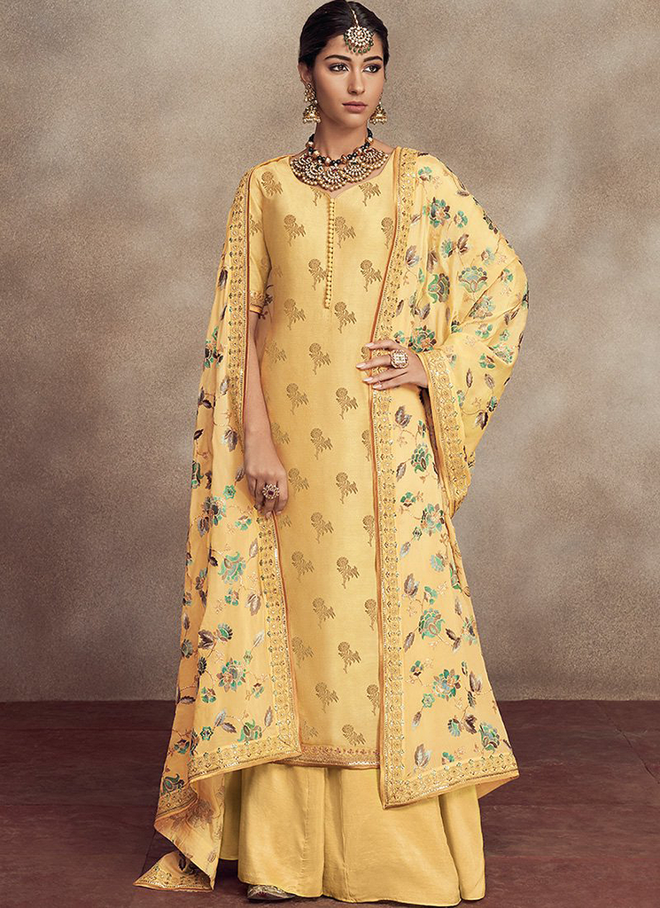 Yellow Designer Heavy Embroidered Silk Jacquard Sharara Suit-Saira's Boutique