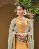 Yellow & Dusty Green Designer Embroidered Silk Jacquard Gharara Suit-Saira's Boutique