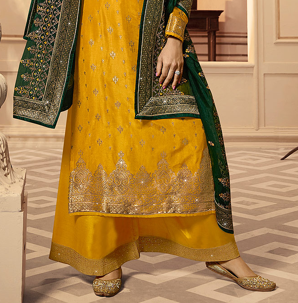 Yellow & Green Designer Embroidered Silk Jacquard Palazzo Suit-Saira's Boutique