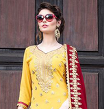 Yellow & Maroon Designer Heavy Embroidered Georgette Wedding Gharara Suit-Saira's Boutique