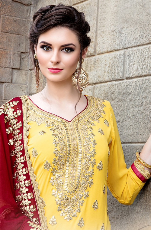 Yellow & Maroon Designer Heavy Embroidered Georgette Wedding Gharara Suit