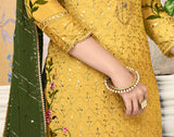 Yellow & Mehendi Green Designer Embroidered Silk Pant Suit-Saira's Boutique
