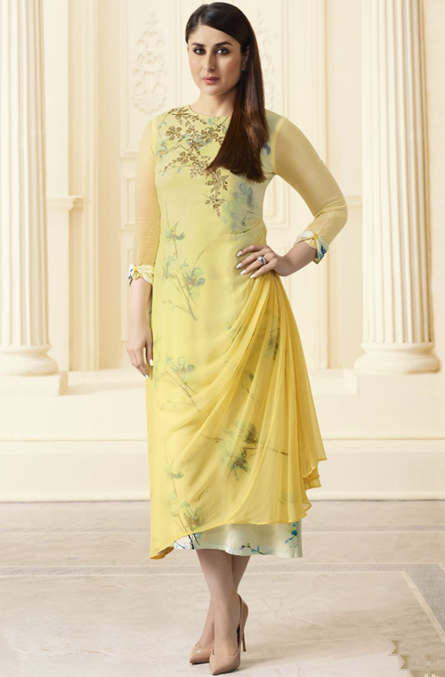 Yellow & Off White Designer Printed Georgette Indo-Western Kurti-Saira's Boutique