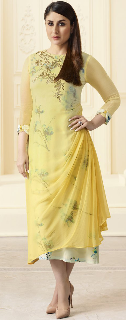 Yellow & Off White Designer Printed Georgette Indo-Western Kurti