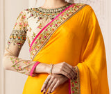 Yellow & Pink Designer Embroidered Crepe & Silk Party Wear Saree