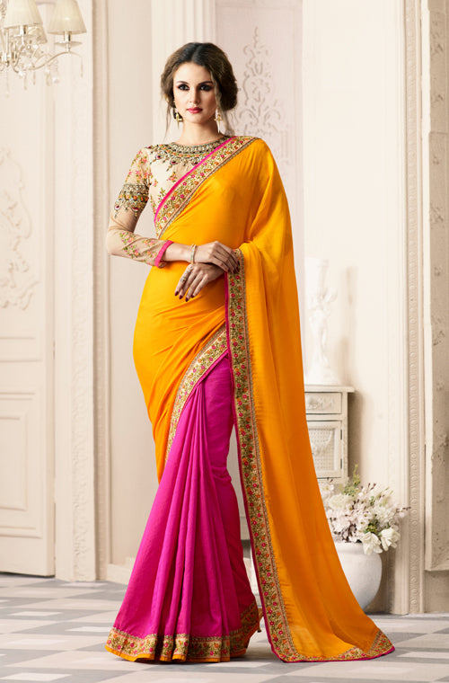 9eb0b80e27 Yellow & Pink Designer Embroidered Crepe & Silk Party Wear Saree ...