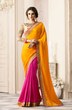 Yellow & Pink Designer Embroidered Crepe & Silk Party Wear Saree-Saira's Boutique
