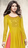 Yellow & Salmon Pink Designer Embroidered Georgette Anarkali Suit-Saira's Boutique