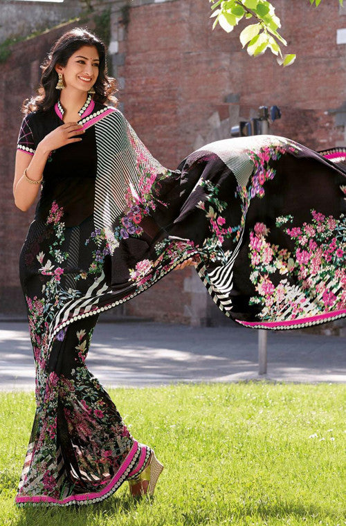 Black Faux Georgette Printed Saree-Saira's Boutique