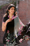Black Faux Georgette Printed Saree - Saira's Boutique - 2