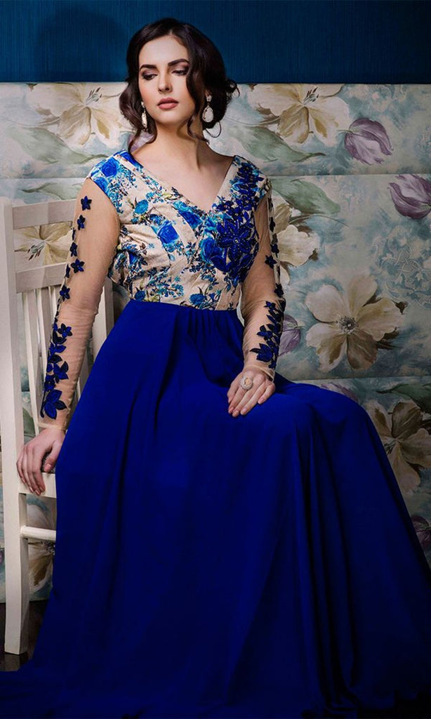 Royal Blue & Beige Designer Party Wear Gown-Saira's Boutique