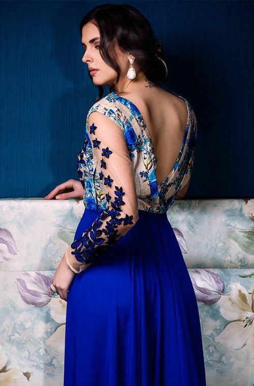 Royal Blue & Beige Designer Party Wear Gown - Saira's Boutique - 4