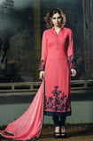 Watermelon Pink Designer Embroidered Georgette Churidar Suit - Saira's Boutique - 1
