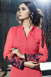 Watermelon Pink Designer Embroidered Georgette Churidar Suit - Saira's Boutique - 2