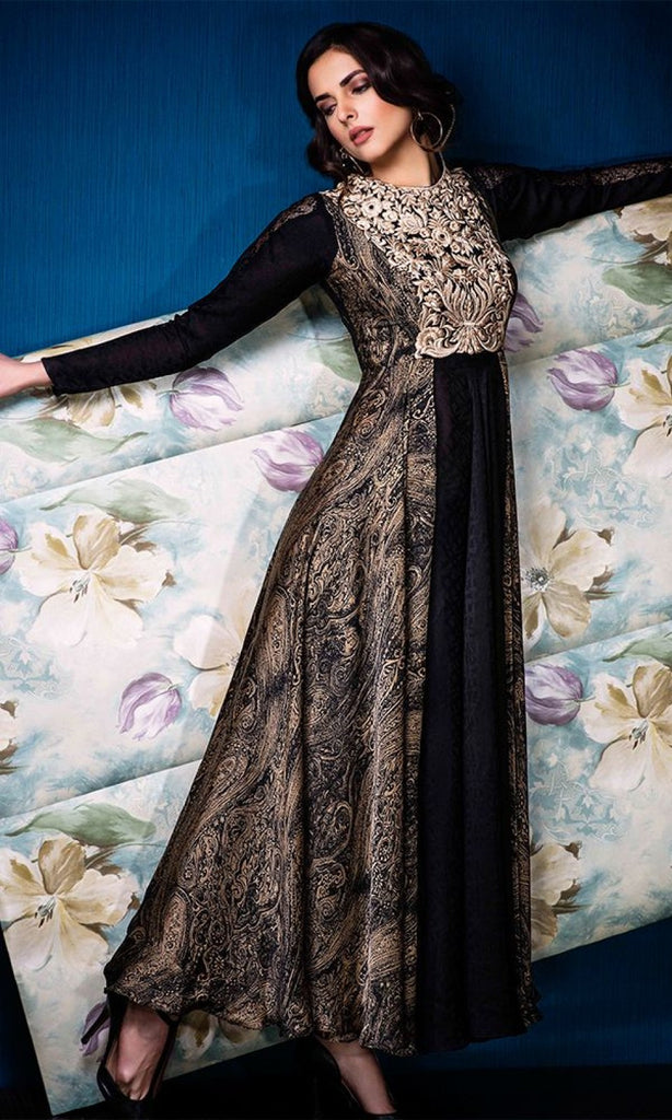 Black & Beige Designer Party Wear Gown - Saira's Boutique - 3