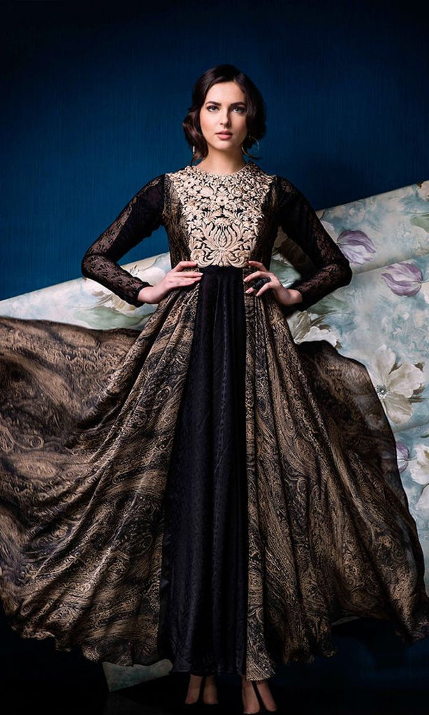 Black & Beige Designer Party Wear Gown - Saira's Boutique - 2