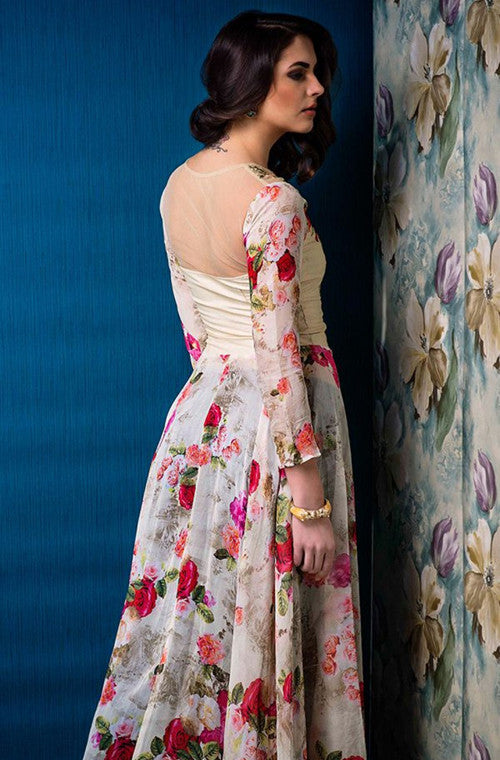 Cream Designer Party Wear Gown with Floral Print-Saira's Boutique