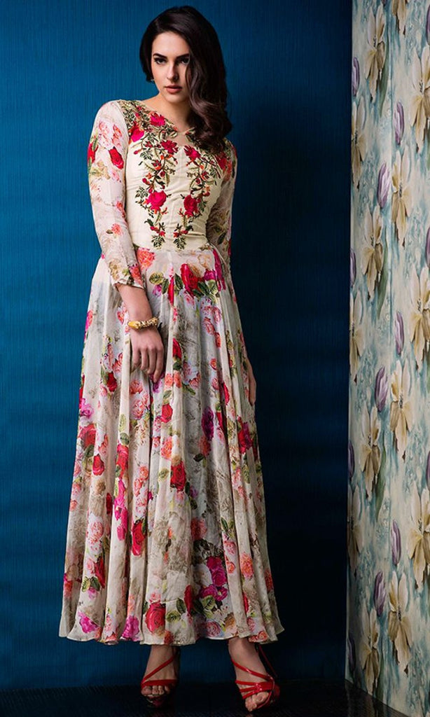 Cream Designer Party Wear Gown with Floral Print - Saira's Boutique - 2