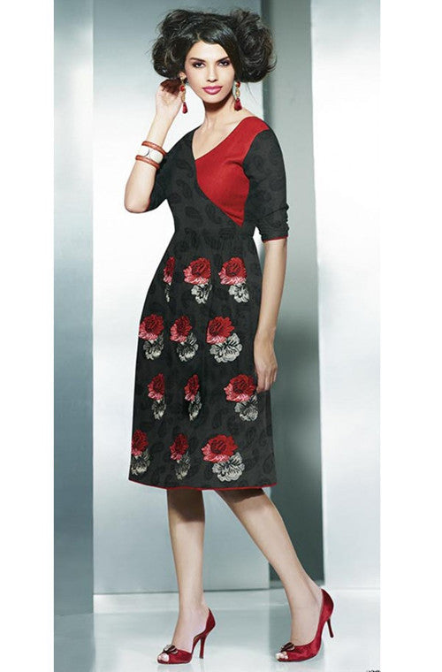 Black & Red Embroidered Pashmina Kurti - Saira's Boutique - 1