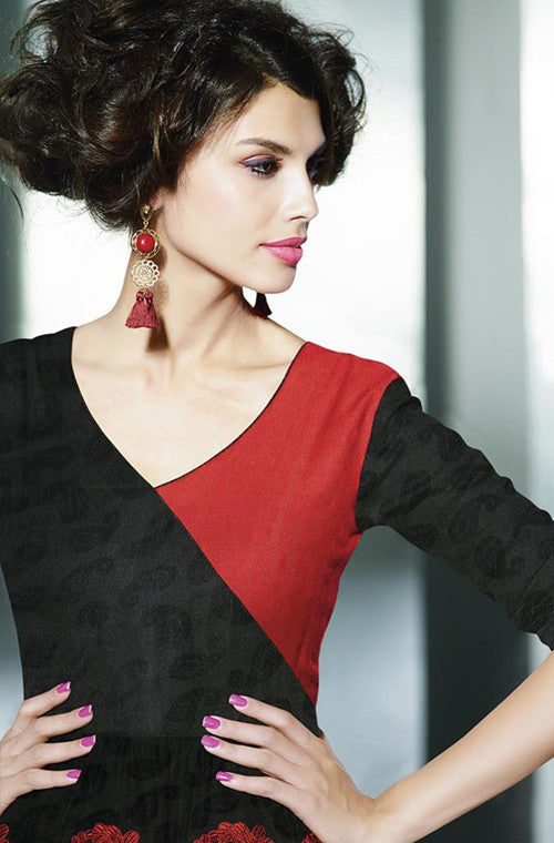 Black & Red Embroidered Pashmina Kurti-Saira's Boutique