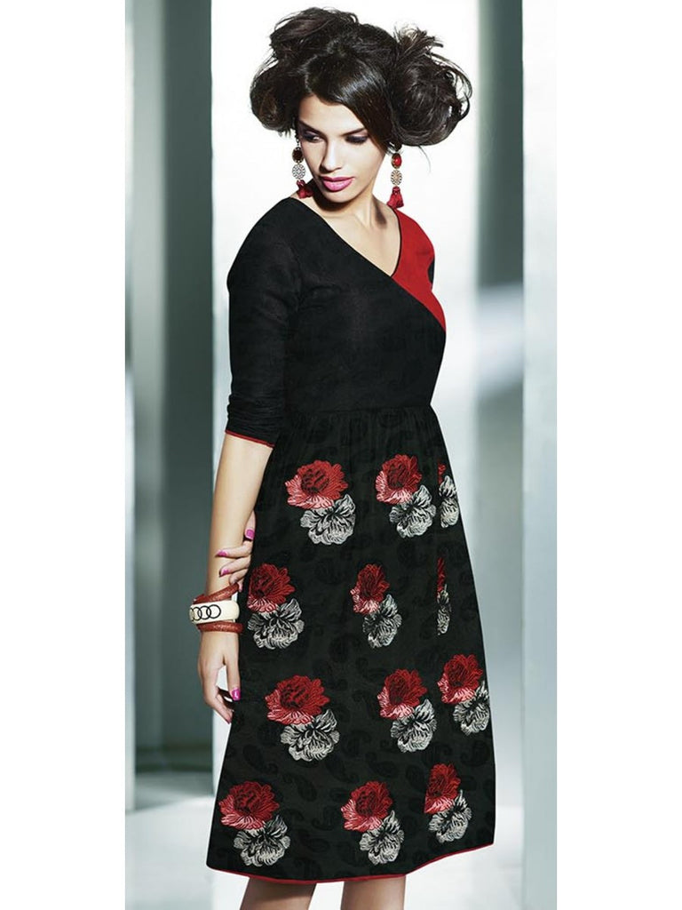 Black & Red Embroidered Pashmina Kurti - Saira's Boutique - 2