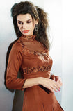 Ginger Brown Embroidered Pashmina Kurti - Saira's Boutique - 2