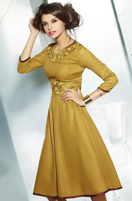 Gold Embroidered Pashmina Kurti-Saira's Boutique