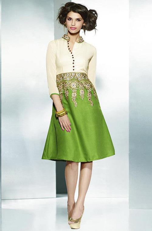 Green & Cream Embroidered Pashmina Kurti - Saira's Boutique - 1