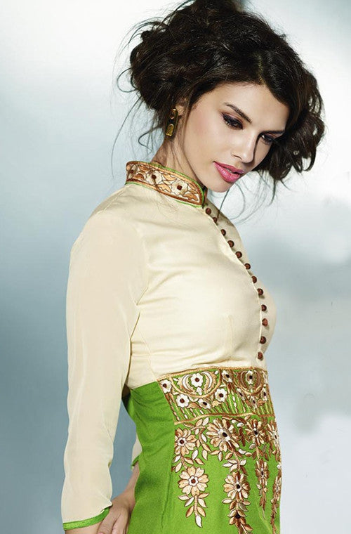 Green & Cream Embroidered Pashmina Kurti - Saira's Boutique - 2