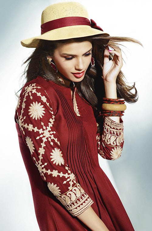 Maroon Embroidered Pashmina Kurti-Saira's Boutique