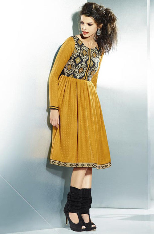 Mustard Yellow Embroidered Pashmina Kurti - Saira's Boutique - 1