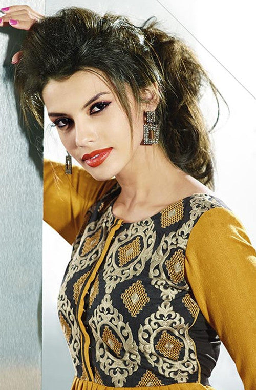 Mustard Yellow Embroidered Pashmina Kurti-Saira's Boutique