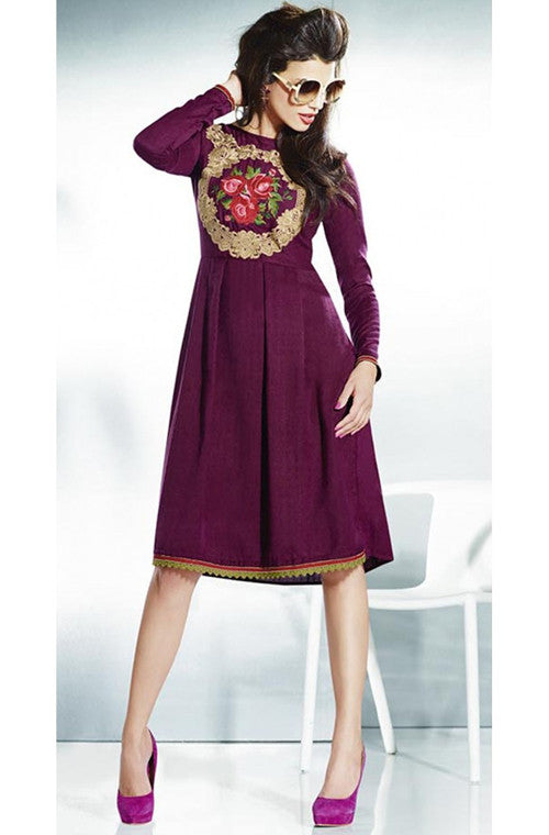 Purple Embroidered Pashmina Kurti - Saira's Boutique - 1