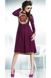 Purple Embroidered Pashmina Kurti-Saira's Boutique