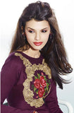 Purple Embroidered Pashmina Kurti - Saira's Boutique - 3