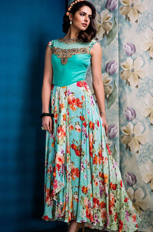 Turquoise Blue Designer Party Wear Gown - Saira's Boutique - 1