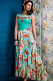 Turquoise Blue Designer Party Wear Gown-Saira's Boutique