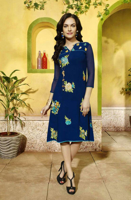 Navy Blue Embroidered Designer Georgette Kurti - Saira's Boutique - 1
