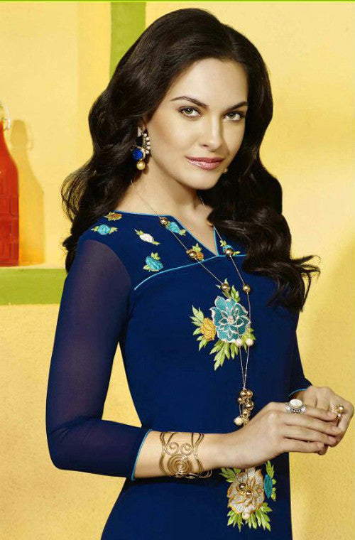 Navy Blue Embroidered Designer Georgette Kurti - Saira's Boutique - 2