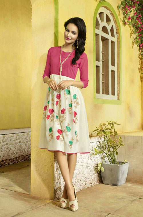 Pink & White Embroidered Designer Georgette Kurti - Saira's Boutique - 1