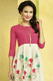 Pink & White Embroidered Designer Georgette Kurti - Saira's Boutique - 2
