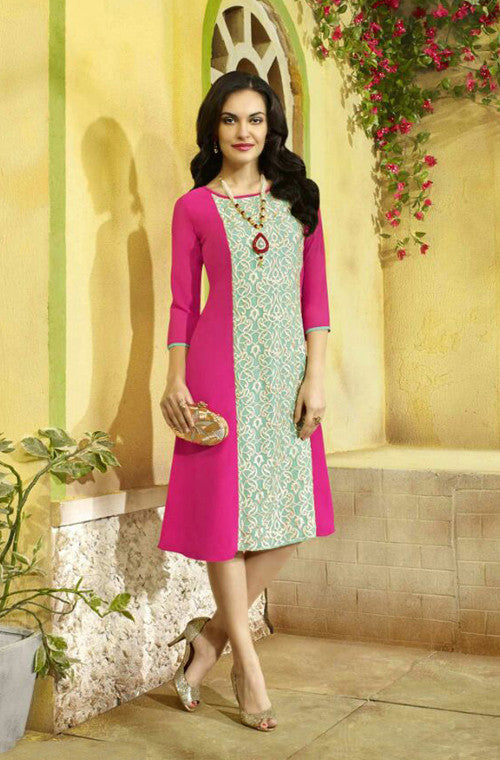 Pink Embroidered Designer Georgette Kurti - Saira's Boutique - 1