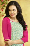 Pink Embroidered Designer Georgette Kurti - Saira's Boutique - 2