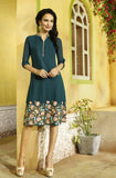 Peacock Blue Embroidered Designer Georgette Kurti - Saira's Boutique - 1