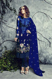 Royal Blue Embroidered Georgette Churidar Suit - Saira's Boutique - 1
